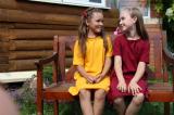 Желтое детское платье