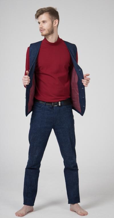Брюки-джинсы со стрелками из конопляного денима
